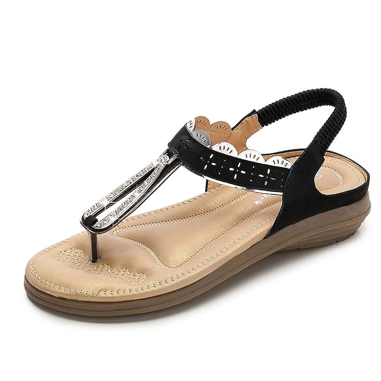 固有の参加者自然レディースtストラップサンダルファッションラウンドヘッドフラットボヘミアスタイルローマンクリップつま先フリップフロップ快適な弾性ベルトカジュアル夏の靴