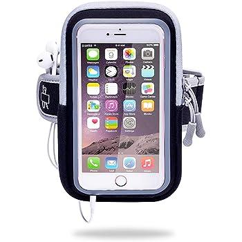 Funda para teléfono con brazalete deportivo, EFFE 5.5 inch Brazalete para correr a prueba de sudor, Paquete de brazo Bolsa Gimnasio Fitness Bolso para teléfono celular Porta llaves para iPhone X 8 7 Plus 6sPlus Samsung Galaxy Note 5 4 S8 S7 Edge, Negro