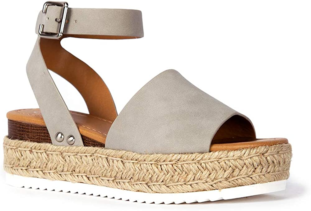 J. Adams Blair Espadrille Sandal - Straw Platform Open Toe Ankle