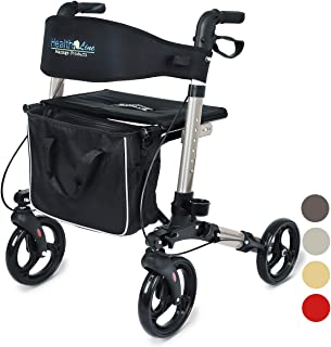 Health Line Compact Rollator for Seniors, Aluminum Side-Fold Rolling Walker with Paded Seat, Silver Gray