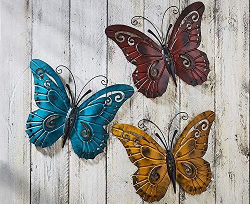 Jack In The Box Metall-Schmetterlings-Wanddekoration, Wanddekoration für drinnen und draußen, 3er-Set