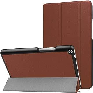 SHIHUI Phone Cases For Huawei MediaPad T3 8.0 Custer Texture Horizontal Flip Leather Case with 3-folding Holder(Black)(Dark Blue)(Orange)(Pink)(Green) etc (Color : Brown)
