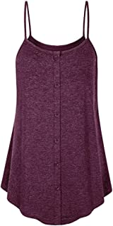 Cami Tank Tops for Women Plus Size Casual Sexy Sleeveless Strappy Vest Button Blouse T-Shirt