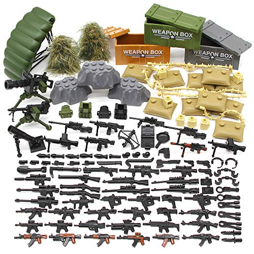 Feleph Military Army Toy Guns, Soldier Weapons Armor Building Blocks Bricks, Gear Battle Accessories Pack, for WW2 SWAT Team Figures, Custom Modern Assault Rifles Toy, DIY Gift for Boys Kids