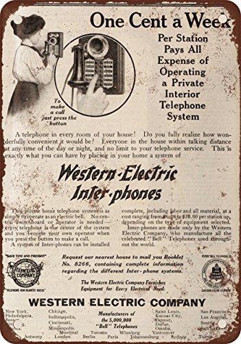 Placa metálica de metal con diseño vintage de teléfono interfono eléctrico occidental, 30,5 x 45,7 cm