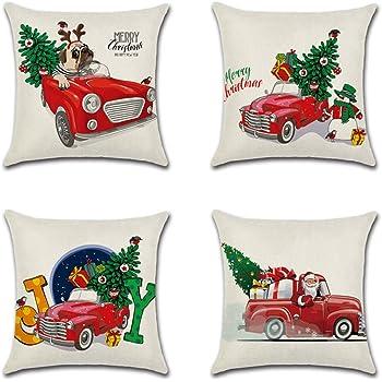 Artscope Funda de Cojín 45x45cm Navidad,Funda de Almohada para Cojín Cuadrado Algodón Lino para Sofá Cama Hogar Decorativo para Navidad Christmas,Set de 4 (Coche de Navidad): Amazon.es: Hogar
