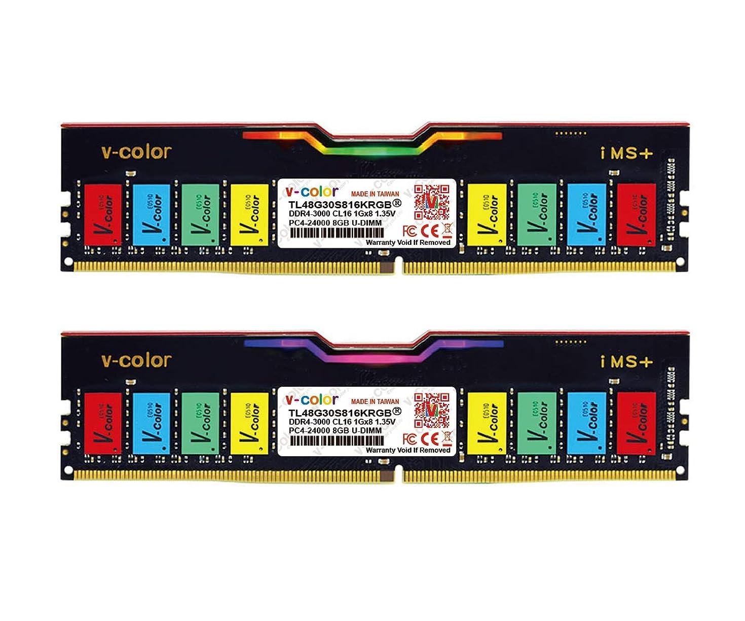 V-Color Skywalker RGB 16GB (2 x 8GB) DDR4 Hynix IC 288-Pin DRAM 3000MHz (PC4-24000) CL16 1.35V Desktop Memory Model (TL48G30S816KRGB)