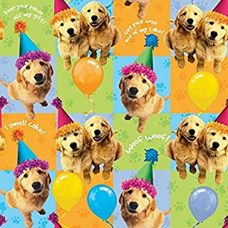 Puppy Printed Gift Wrap with Hang Tab