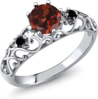 925 Sterling Silver Red Garnet and Black Diamond Women's Ring 1.11 Cttw (Available 5,6,7,8,9)