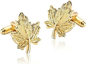 KnSam Men Stainless Steel Gold Plate French Cufflinks Maple Leaves [Shirt Cufflinks Wedding Business]