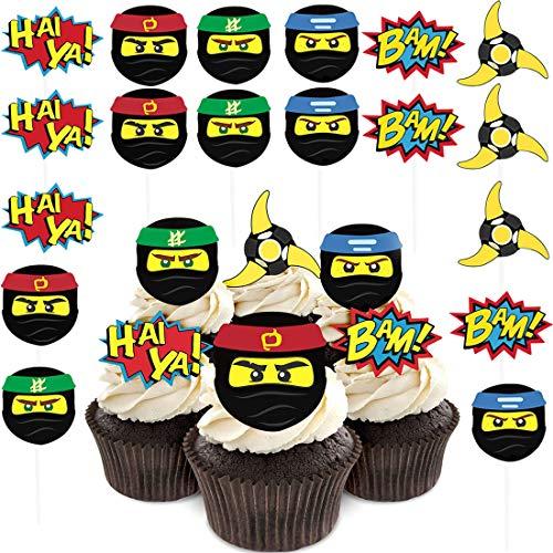 WENTS Ninja Warrior Cupcake Toppers Ninja Muffin Deko für Geburtstagsparty, Ninja Themen Partydekoration liefert 24pcs