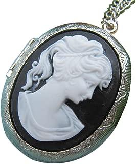 Silver Cameo Locket Necklace Black White Cameo Necklace Vintage Lady Cameo Photo Locket Large Oval Locket