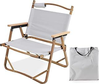 アウトドア チェア キャンプ イス 折りたたみ リラックス 椅子 耐荷重120kg 木目調アルミフレームアルミ合金 コンパクトフォールディングチェア ビーチ/庭園/アウトドア/キャンプ 用ポータブル折りたたみチェア