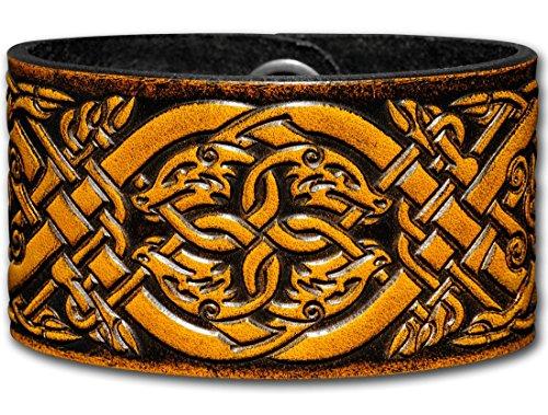 Hoppe & Masztalerz Lederarmband geprägt 40MM aus Vollrindleder Keltische Hunde (9) Honig-antik mit Druckknopfverschluss (nickelfrei) (24 Zentimeter)