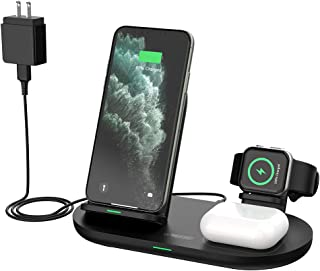 Wireless Charging Station 3 in 1, NTONPOWER Qi-Certified Fast Charger Compatible iPhone 12 Pro/12 Pro Max/11 Pro/11 Pro Ma...