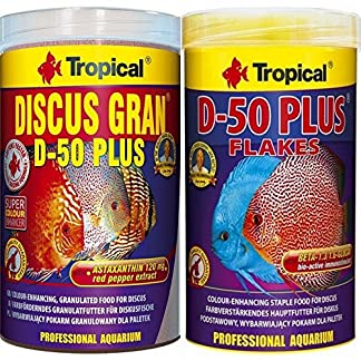Tropical 1 L Discus Granulat D-50 Plus + 1 L Discus Flocken D-50