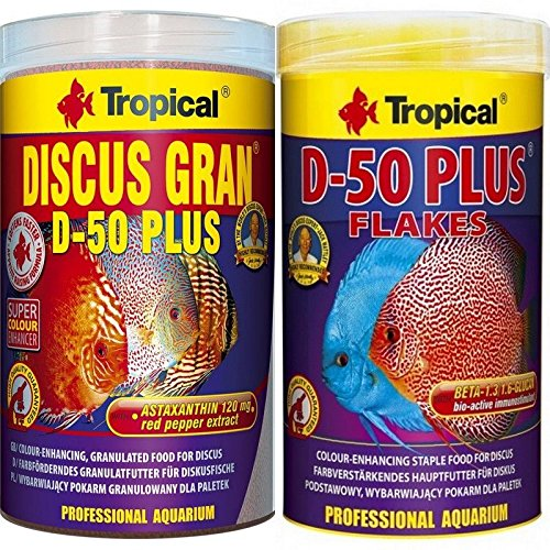 Tropical 1 Liter Discus Gran D - 50 Plus + 1 Liter Discus Flocken D- 50 2 er Set Diskus Fischfutter