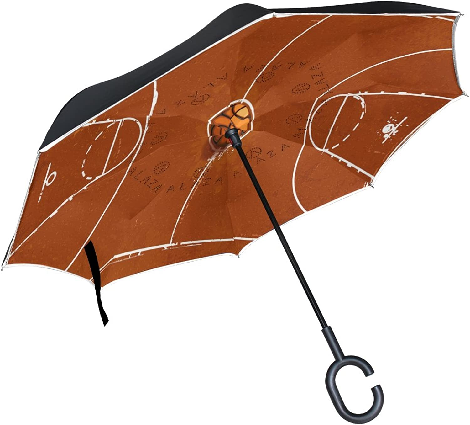 MASSIKOA Grunge Basketball Playground Ingreened Double Layer Straight Umbrellas Inside-Out Reversible Umbrella with C-Shaped Handle for Rain Sun Car Use