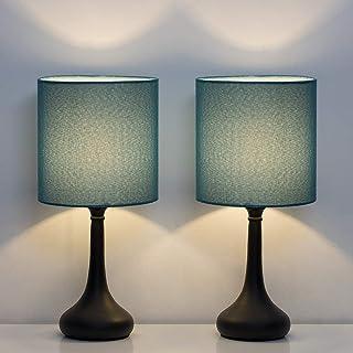 چراغ های میز کنار تخت HAITRAL - مجموعه ای از چراغ های تخت خواب شبانه 2 عددی ، چراغ میز مدرن اتاق خواب ، اتاق نشیمن ، دفتر با پایه فلزی و سایه پارچه ای - آبی تیره (HT-BTL11-06X2)