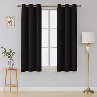 Deconovo Thermal Insulated Curtain Grommet Room Darkening Curtains for Windows 42x45 Inch Black 1 Pair