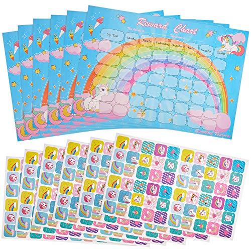 12 Tablas de Recompensas de Unicornio con Pegatinas Incluye 6 Tablas de Comportamiento de Unicornio, 6 Hojas/ 360 Piezas Tabla de Recompensas Pegatinas Reutilizables de Unicornio Arcoíris