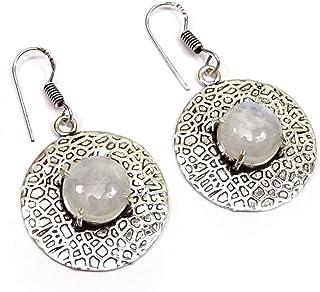 Nimbark Rainbow Moonstone Gemstone Ethnic Handmade Jewelry Round Earring 1.5''