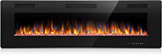 Joy Pebble 60 Inches Electric Fireplace, in-Wall Recessed and Wall Mounted 750/1500W Fireplace Heater, Touch Screen, Remote Control with Timer, Black