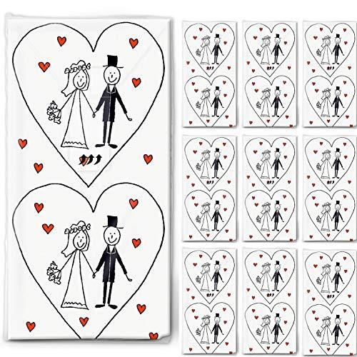 AllesZurHochzeit - Pacchetto di fazzoletti motivo matrimonio, 10 pacchetti da 10 fazzoletti