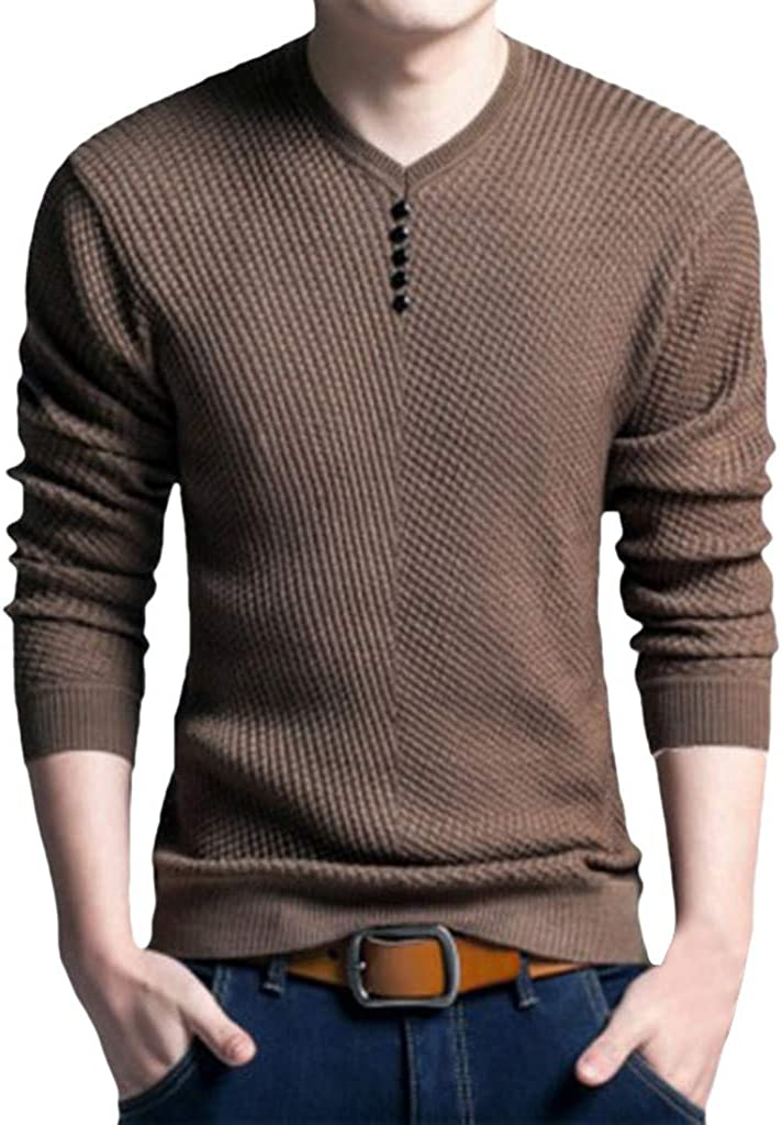DIOMOR Henleys for Men Casual Long Sleevel Button O NeckT Shirt Fashion Gentleman Slim Fit Polo Blouse Tops