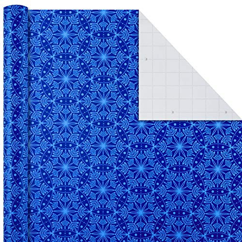 Image Arts Holiday Wrapping Paper Bundle with Cut Lines on Reverse, Blue (Pack of 4, 180 sq. ft. ttl.)