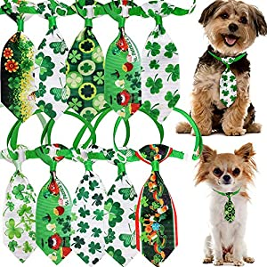 Masue Pets Puppy Dog Necktie for St. Patrick' s Day 10pcs/Pack Dog Bowtie Collar Lucky Green Clovers Patterns Puppy Dog Bows Dog Grooming Accessories