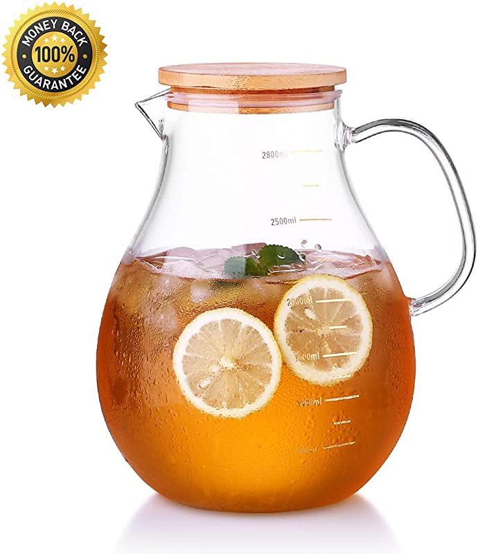 Oneisall 100oz Large Glass Pitcher With Lid Handle Heat Resistant Borosilicate Beverage Carafe For Juice And Iced Tea