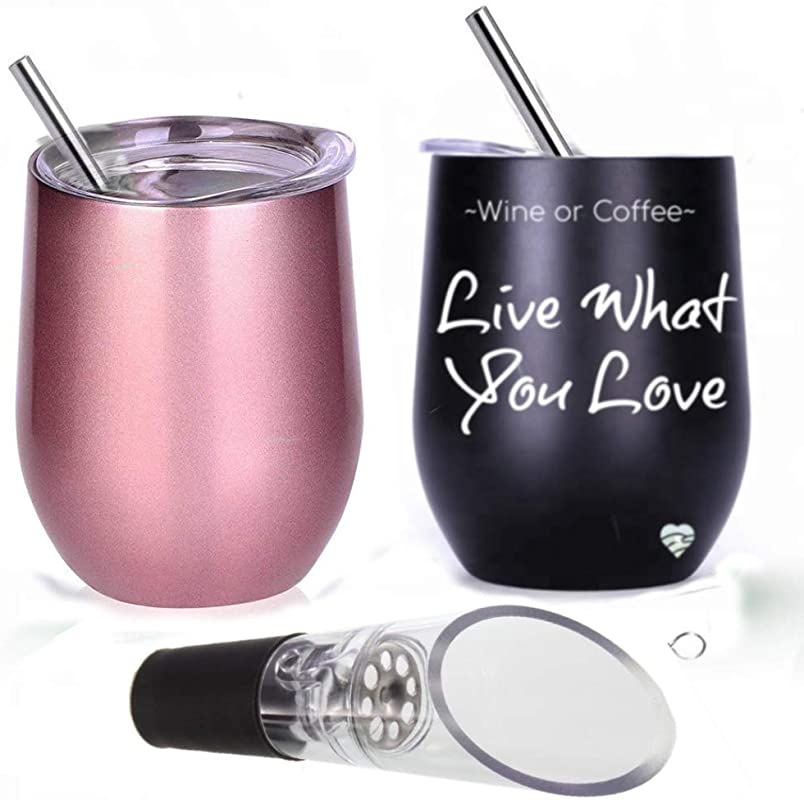 Wine Tumbler With Lid And Straws 12 Oz Double Wall Insulated Wine Glass Stemless With Straw For Wine Coffee Ice Cream Pack 2 Tumbler With Sayings Live What You Rose Gold Black