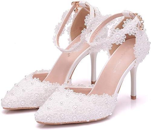 Chaussures de mariage Mariage talons talons talons hauts dentelle blanche chaussures de mariage talons hauts Les dames talons hauts parti étape utiliser de belles chaussures de pieds sandales talons hauts ( Taille   38 ) bf5