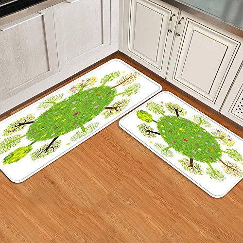 BCVHGD Ensemble de 2 Tapis de Cuisine,Terre Divers Arbres Verts fleurissent Impress, Tapis de Protection antidérapant pour Tapis de Passage Lavable et Durable