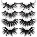 ALICROWN 25MM False Eyelashes Real Mink Lashes Strip Long Dramatic Fluffy Thick Cross 100% Siberian Lashes 4 Styles Pack