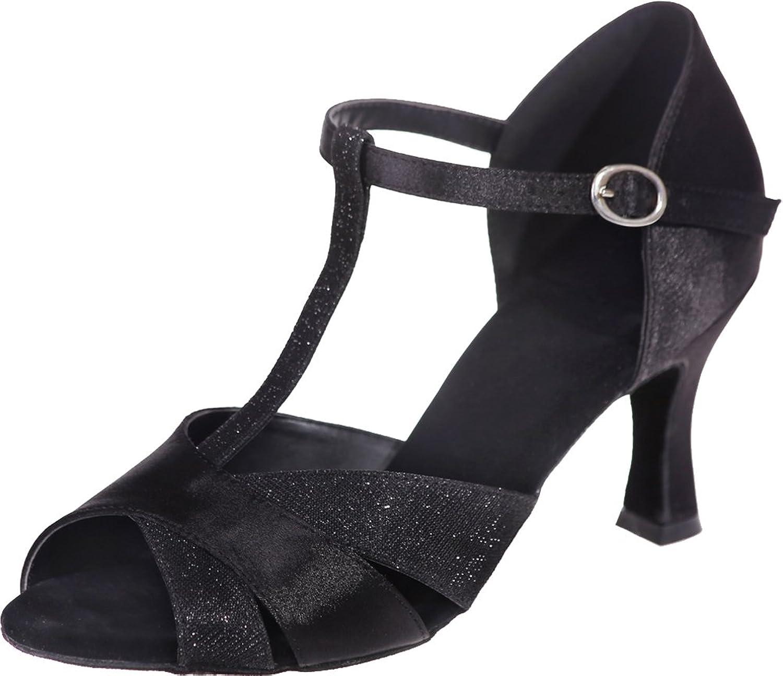 Vimedea Womens Professional Fashion Salsa Comfort Beginner Practice Latin Dance shoes Tango Cha-Cha Swing Ballroom Party Wedding Sudue Sole 3IN Ankle Straps Peep Toe T-Bar Satin