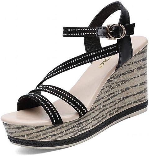 LTN Ltd - sandals Pendiente con Sandalias de Muffin de Fondo Grueso. Correa de damen. Calzado Romano de Tacón Alto para damen, schwarz, 38