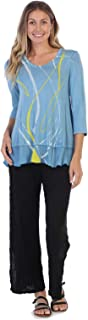 Women's Swing Mineral Washed Rayon Georgette Contrast Tunic Top