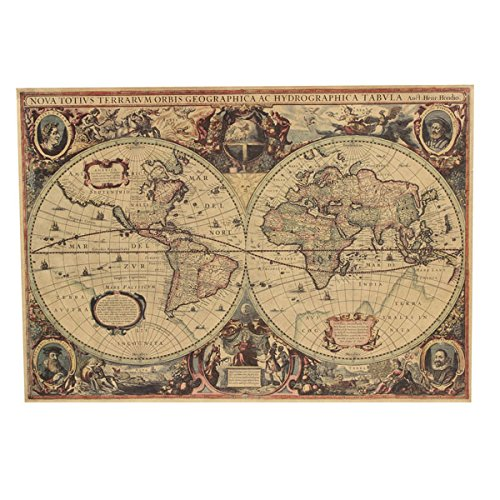 Bluelover Retro Kraft Papel 1641 Viejo Mundo Navegación