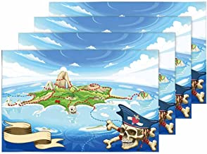 InterestPrint Neverland Adventure Pirate Treasure Island Map Placemat Table Mats Set of 4, Heat Resistant Place Mat for Dining Table Restaurant Home Kitchen Decor 12