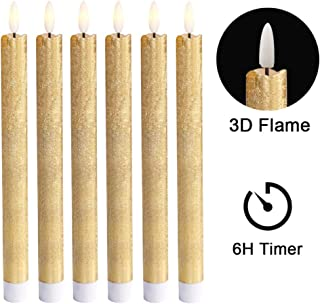 Wondise Flameless Taper Candles Battery Operated with 6 Hour Timer, Gold Coating Real Wax 3D Wick LED Flickering Taper Candles Warm Light Christmas Home Decoration(Set of 6, 0.78 x 9.64 Inches)
