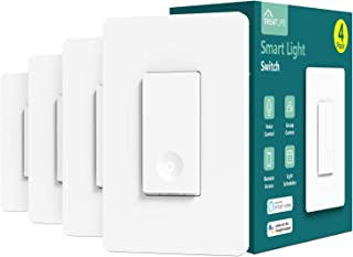 Smart Light Switch, Treatlife 2.4Ghz Smart Switch Wi-Fi Light Switch, Neutral Wire Required, Works with Alexa and Google Assistant, Single-Pole, Schedule, Remote Control, ETL Listed, 4 PACK