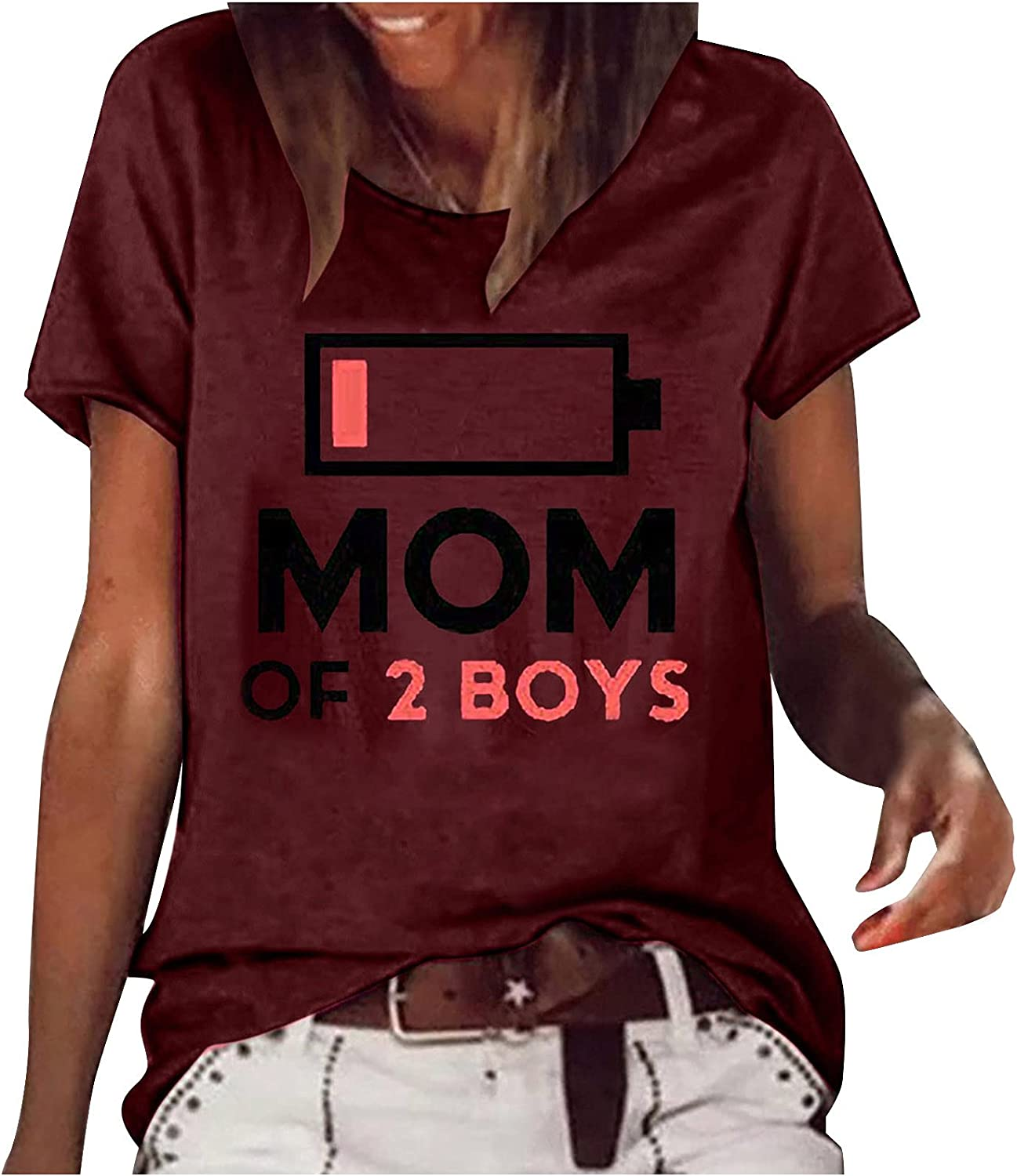 Max 47% OFF Womens Summer Tops Casual Women Crew Short Inexpensive Printed Ladies Sleeve