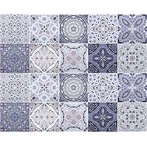 20 Stück Mosaik Wandfliesen Aufkleber, PVC Fliesenaufkleber 20x20 cm, Selbstklebende Fliesen Sticker Boden Aufkleber, Wasserdicht Fliesensticker Aufkleber für Bad Wohnzimmer und Küche Deko