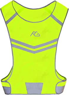 GoxRunx Reflective Running Vest Gear Ultralight & Comfortable Cycling Motorcycle Reflective Vest-Large Zippered Inside Pocket & Adjustable Waist- High Visibility Night Running Safety Vest,Green