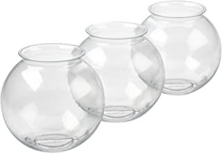 Srenta 16oz Plastic Ivy Bowls | Perfect for Home Decor, Goldfish Game, Event Supplies. Pack of 3 Transparent Vase