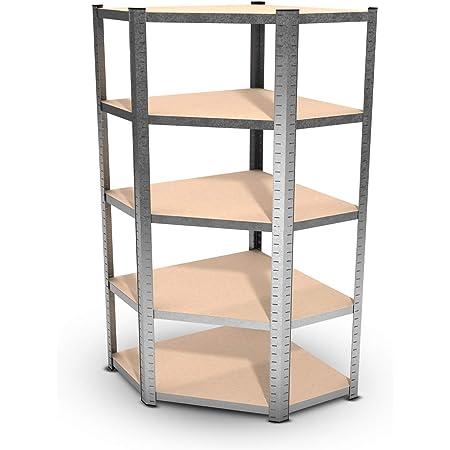 Estantería modular de angulo de metal - carga hasta 750 kilogramos - 180 x 90 x 45 cm - gris