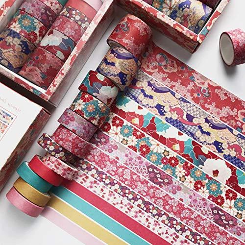 12Rollos Washi Tape Set Rosa Flor de Cerezo Cintas Adhesivas Decorativas Manualidades Cintas Japonesas Washi Tape Bullet Journal para Scrapbooking DIY Manualidades Envolver Regalos Álbumes de Recortes