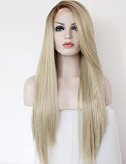 K ryssma Fashion Ombre Blonde Glueless Lace Front Wigs 2 Tone Color Light  Brown Roots aef127491e